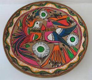 Mexican Red Clay Pottery Hand Painted Birds Plate 12 ""