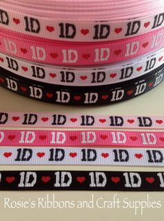 "♕ 2 Metres ✿ One Direction 1D Boy Band ✿ Grosgrain Ribbon ✂ 3 8"" 9 10MM✿ 1D♕"