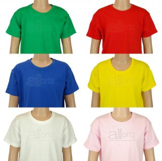 New Boys Girls Childrens Fruit of The Loom Plain Short Sleeve T Shirt PE School