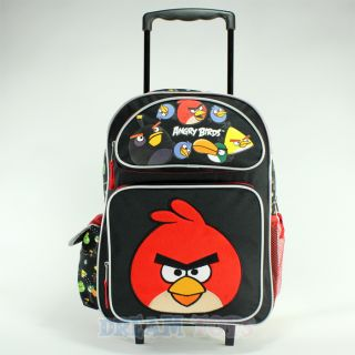"Rovio Angry Birds Shooting 16"" Roller Backpack Book Bag Rolling Girls Boys"
