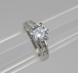 High Solitaire CZ Engagement Ring Stainless Steel Channel CZ Engagement Ring