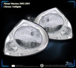2002 2003 Nissan Maxima Chrome Clear Tail Lights Left Right Side Rear Lamps