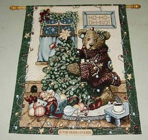 Boyds Bears Friends Elliott The Tree Christmas Tapestry Wall Hanging