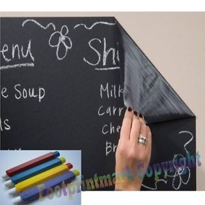 Chalkboard Blackboard Removable Vinyl Wall Sticker Decal 200 x 45cm 5 Chalks DIY