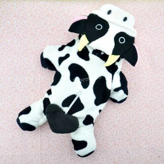 Puppy Dog Clothes Coral Fleece Lovely Cow Hoodie Jumpsuit Pet Clothes Size M