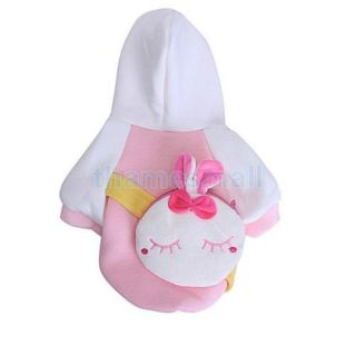 Pet Dog Warm Hooded Coat Jumpsuit Clothing Clothes Apparel w Rabbit Back Bag S