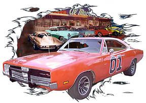 1969 Orange Dodge Charger General 1 Hot Rod Diner T Shirt 69 Muscle Car Tee'S