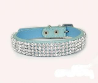 5 Color Leather Bling Rhinestone Dog Collars Crystal Diamond Pet Dog Cat Collars