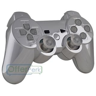 New Clear Buttons and Chrome Silver Custom Shell Case for PS3 Controller Tools