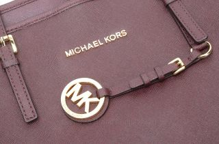 Michael Kors Jet Set Travel Burgundy Saffiano Leather Tote Purse $278 GOA979