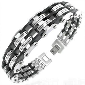 Mens Stainless Steel Bracelet Genuine 316L Bangle Chain Black Rubber Gift Boxed