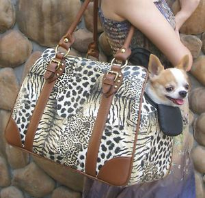 Faux Leopard Brown Leather Pet Carrier Small Dog Cat Airline Tote Bag Purse