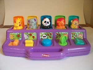 Safari Zoo Poppin Pals Pop Up Toy Playskool Giraffe Elephant Panda Lion Monkey