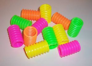 12 Neon Accordion Tubes Bird Toy Parts Parrots Plastics