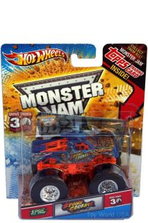 2012 Hot Wheels Monster Jam Stone Crusher Edge Glow w Topps Trading Card