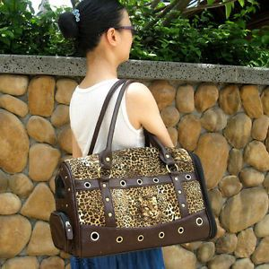 Faux Leopard Brown Leather Pet Carrier Small Dog Cat Airline Tote Purse Bag