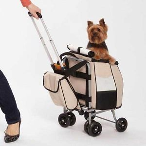 Jet Set Pet Stroller Small Dog Travel Carrier Tote Push Pull or Carry Design