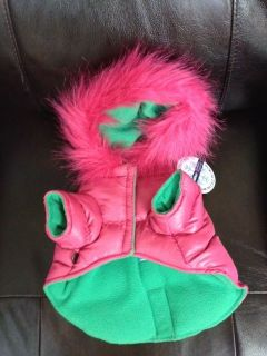 Puffer Dog Coat Hot Pink XS Small Pet Cat Winter Fur Hooded Snowsuit Jacket