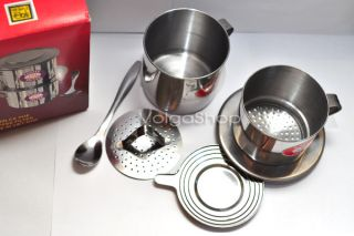 Vietnamese Coffee Set Filter Maker Cup Spoon Stainless Steel Size 8
