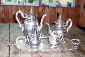 Wm A Rogers Royal Provincial Silver Plated Coffee Tea Set Grandma's Storag