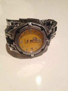 Esq Men's Chronograph Watch Yellow Face Stainless Steel Watch