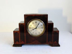 1920's Art Deco Inlaid Mantle Clock Beautiful Footsteps Foot Steps Design