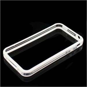 White Clear Bumper Frame TPU Silicone Case for iPhone 4S CDMA 4G w Side Button
