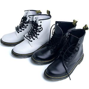 Womens Black White Solid Military Combat Boots Shoes US 6 9 Ladies Ankle Boots