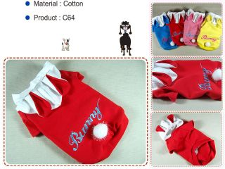 Pet Dog Clothes Bunny Ears Hoodie Shirt Rabbit Coat C64