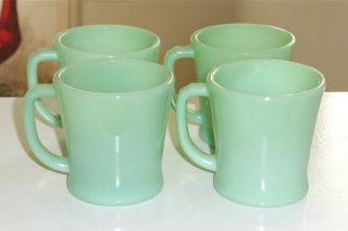 4 Fire King Jadite D Handled Coffee Mugs Jadeite Green Milk Glass Excellent