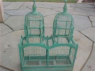 Antique Victorian Wood Wire Double Dome Bird Cage Original Turquoise Green