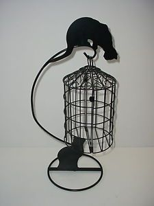 Wrought Iron Stand Swinging Hanging Bird Cage Cat Cats Holder Metal Decorative