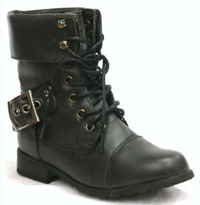 N82 Kids Girls Military Lace Up Combat Boots Black 10 3