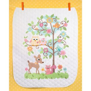 Stamped Cross Stitch Quilt Happi Tree w Owls Deer Squirrel Birds Flowers