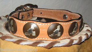 Leather Western Barrel Racer Concho Dog Collar Tan 14