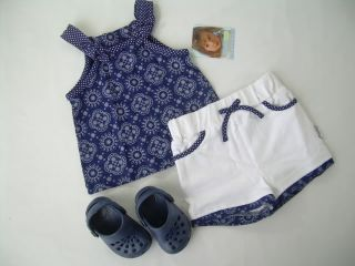 New Girls 12 18 24 MO Outfit Set Tank Top Shirt Bubble Shorts Croc Shoes Lot