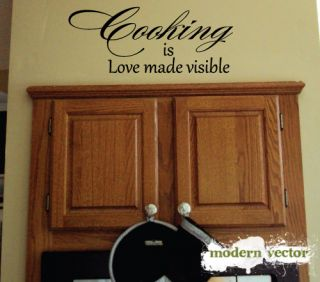 Cooking Is Love Made Kitchen Vinyl Wall Quote Decal