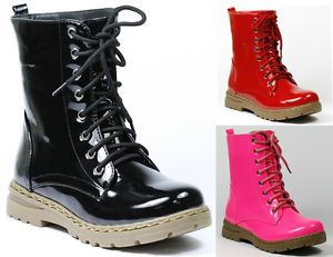 Lace Up Mid Calf Military Combat Boot Nature Breeze Red Black Pink Gwen 01