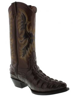 Women's Ladies Brown Crocodile Alligator Tail Leather Cowboy Boots Western Rodeo