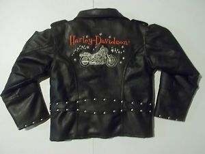 Kids Harley Davidson Sz 6X Faux Leather Black Biker Jacket Halloween Costume