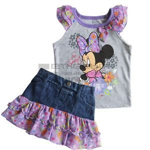 Girl Baby Minnie Mouse Top T Shirt Denim Jeans Dress Skirt Outfits Costume Sz 3T