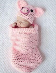 Cute Baby Infant Knitted Pig Piggy Costume Photo Photography Prop Newborn L45