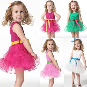 Cute Girls Baby Kids Tutu Skirts One Piece Dress with Belt Cotton Costume 1 6T