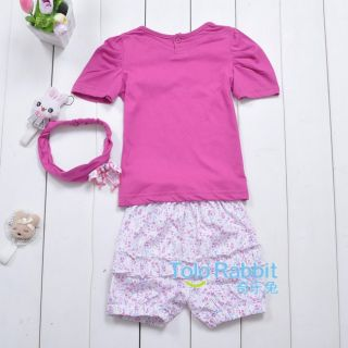 New Baby Girls 3 Pcs Kids T Shirt Short Pants Headband Set Clothes Costume 148