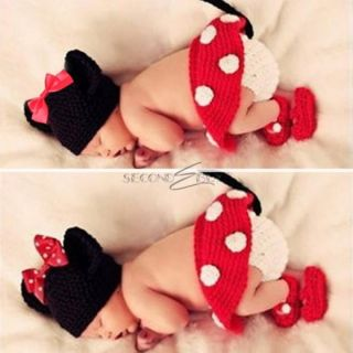 3pcs Baby Unisex Kids Polka Dots Minnie Mouse Crochet Knit Costume 0 12 Months