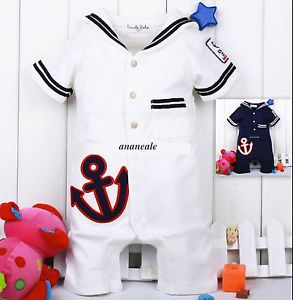 Cute Baby Boy Sailor Suit Fancy Dress Costume Navy White 3 6 6 12 12 18 18 24 M
