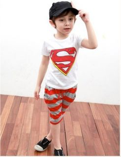 Toddlers Kids Superman Suits Fancy Superhero Costume T Shirt Pants Sets 2 3years