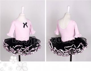 New Kids Girl Party 1 2 Long Sleeve Leotard Ballet Tutu Dress Age 3 8Y Dancewear