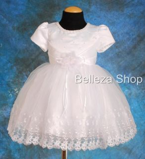 White Wedding Flower Girls Pageant Formal Occasion Dress Sz 18 24mo FG033