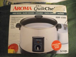 Aroma Quick Chef Deep Fryer Slow Cooker Steamer Stainless Steel Body